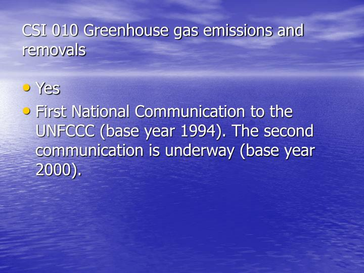 CSI 010 Greenhouse gas emissions and removals
