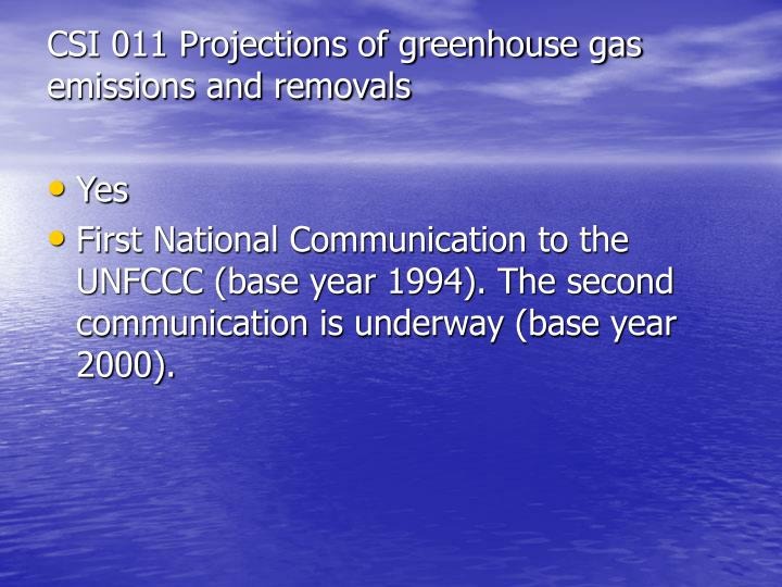 CSI 011 Projections of greenhouse gas emissions and removals
