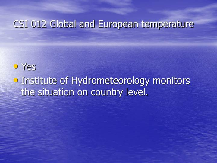 CSI 012 Global and European temperature