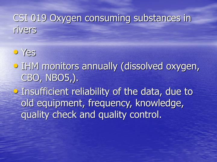 CSI 019 Oxygen consuming substances in rivers