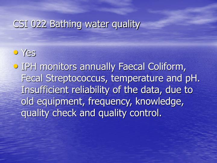 CSI 022 Bathing water quality