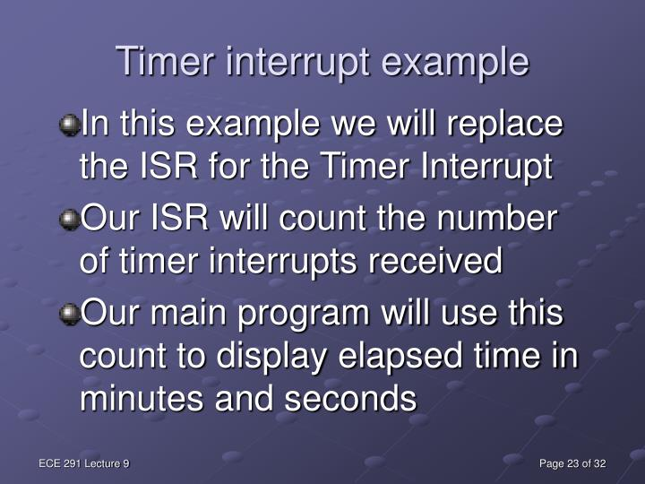 In this example we will replace the ISR for the Timer Interrupt