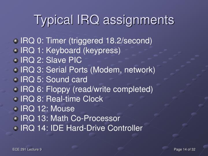 Typical IRQ assignments