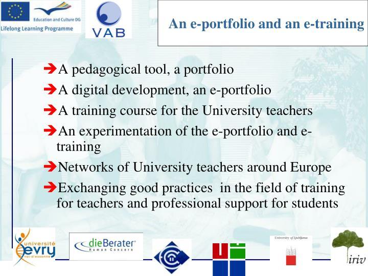 An e-portfolio and an e-training