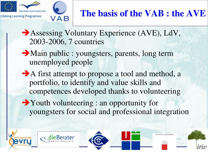 The basis of the VAB : the AVE