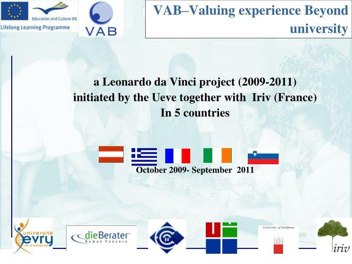VAB–Valuing experience Beyond university