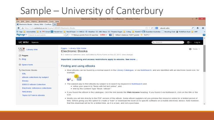 Sample – University of Canterbury