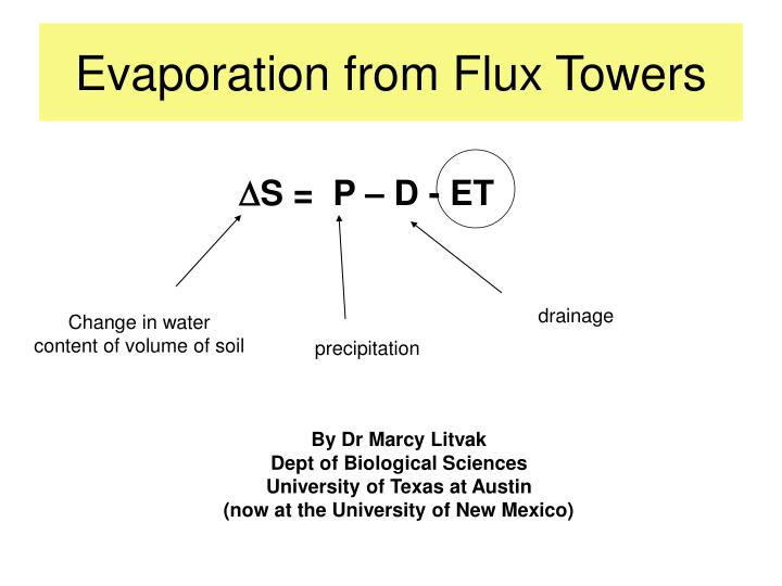 Evaporation from flux towers