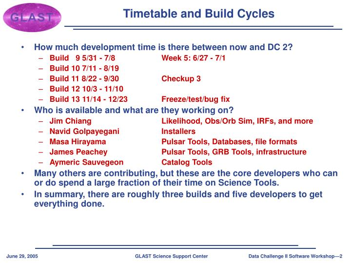 Timetable and build cycles