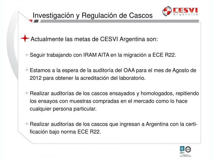 Actualmente las metas de CESVI Argentina son: