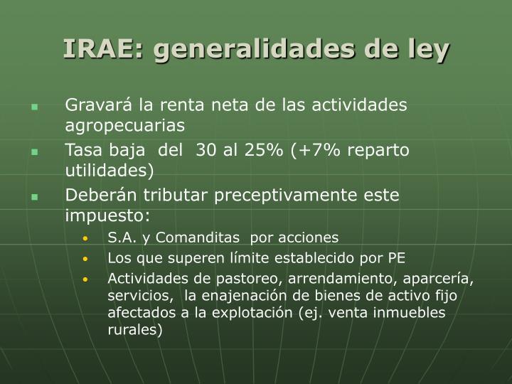 IRAE: generalidades de ley