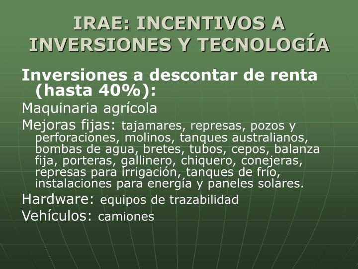 IRAE: INCENTIVOS A INVERSIONES Y TECNOLOGÍA