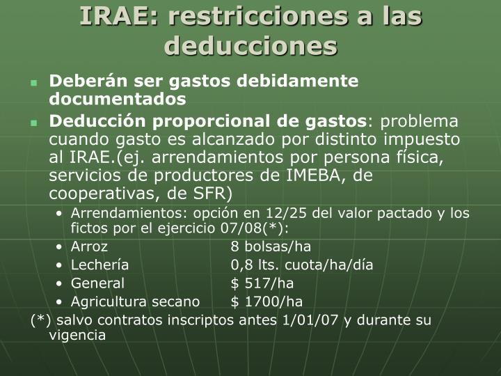 IRAE: restricciones a las deducciones