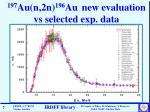 197 au n 2n 196 au new evaluation vs selected exp data