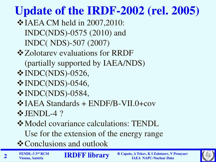 Update of the IRDF-2002 (rel. 2005)