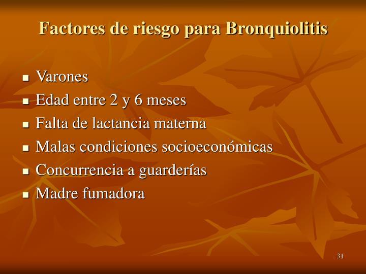 Factores de riesgo para Bronquiolitis