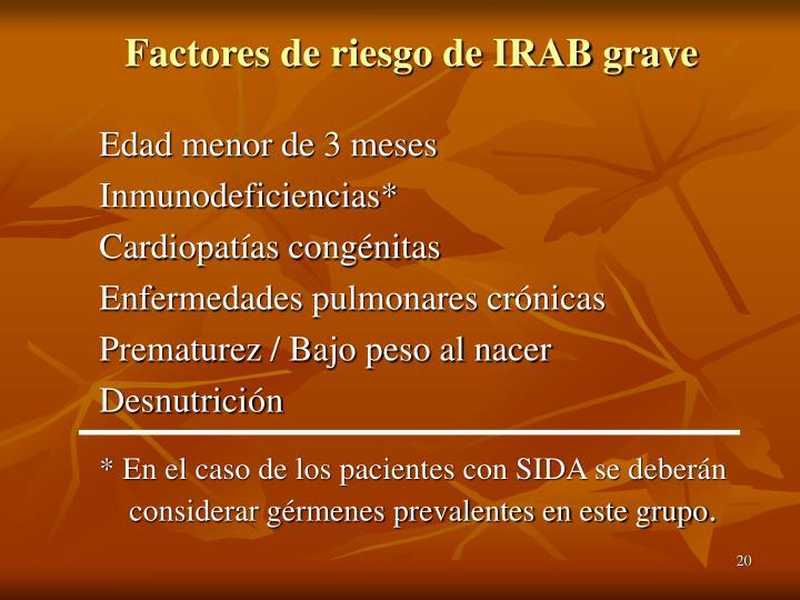 Factores de riesgo de IRAB grave