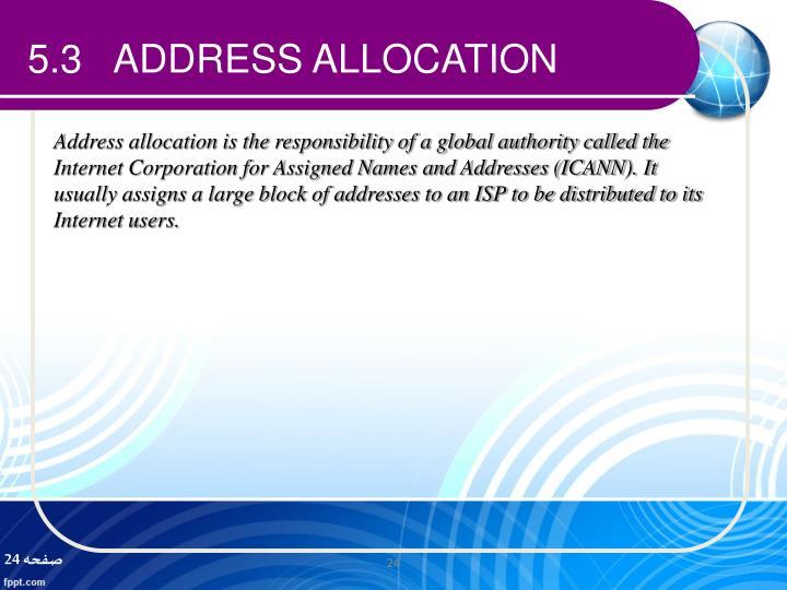 5.3   ADDRESS ALLOCATION
