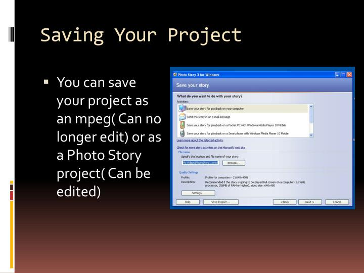 Saving Your Project