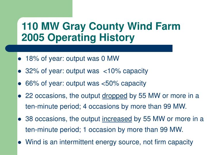 110 MW Gray County Wind Farm