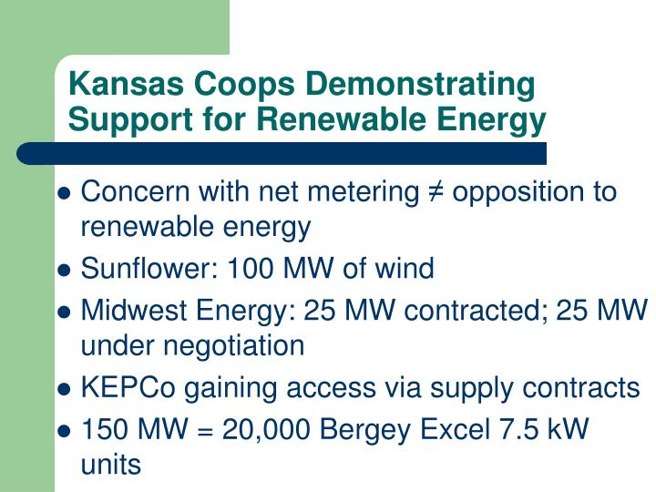 Kansas Coops Demonstrating Support for Renewable Energy