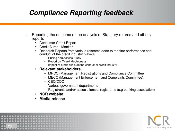 Compliance Reporting feedback