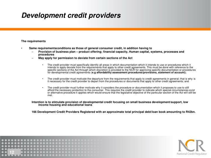 Development credit providers