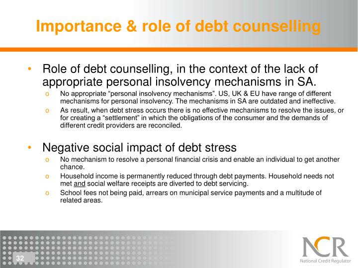 Importance & role of debt counselling
