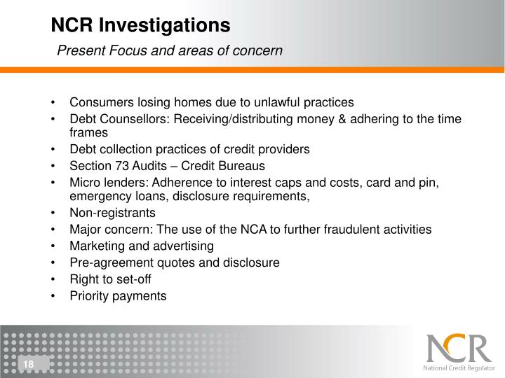 NCR Investigations