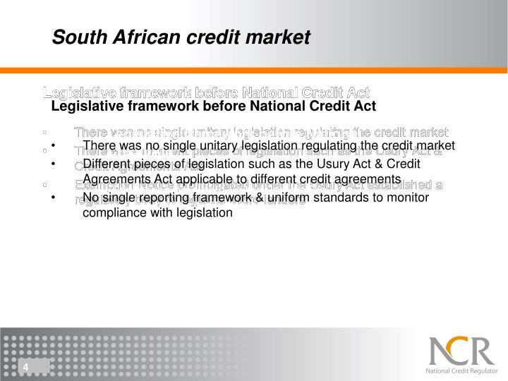 South African credit market