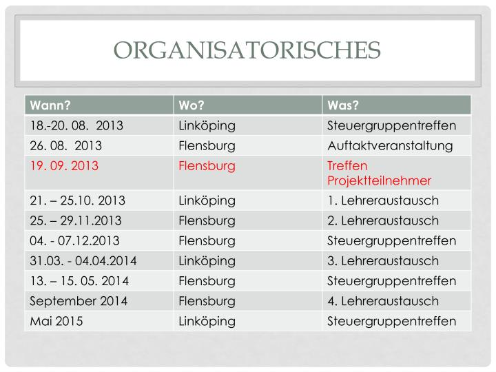 Organisatorisches