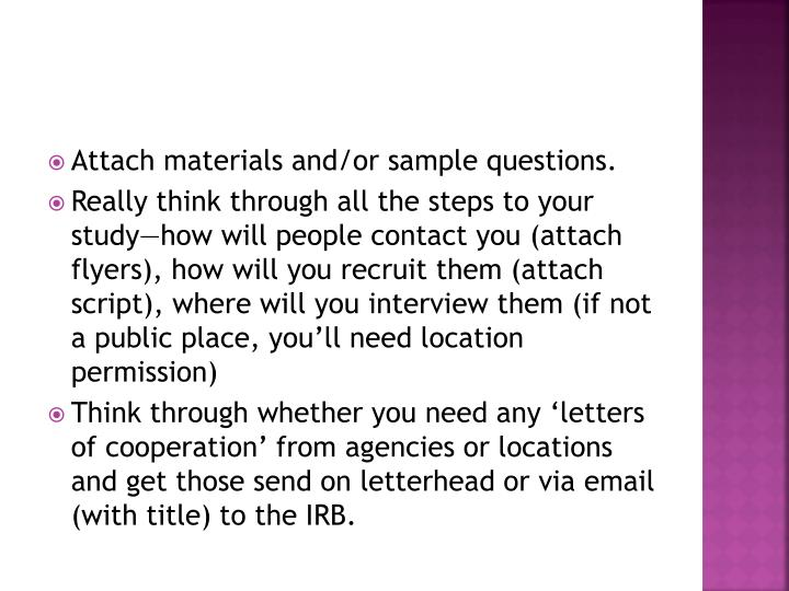 Attach materials and/or sample questions.