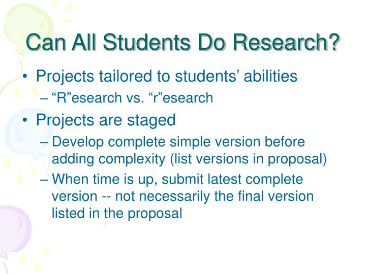 Can All Students Do Research?