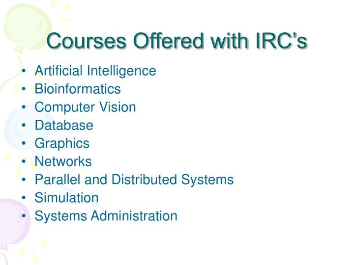 Courses Offered with IRC's
