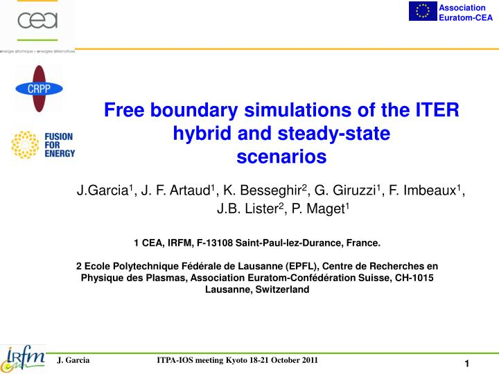 Free boundary simulations of the iter hybrid and steady state scenarios