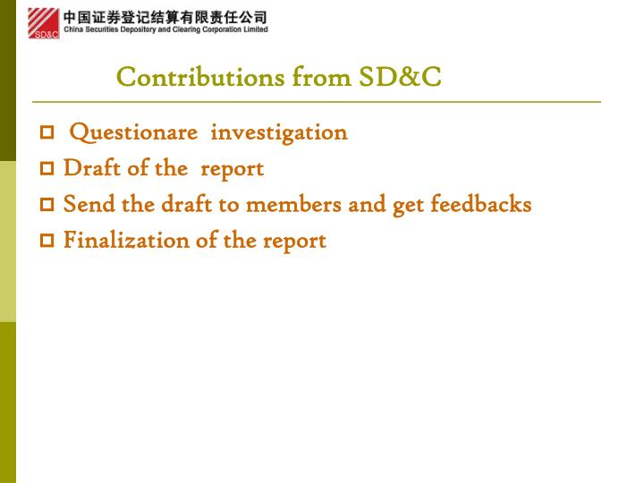 Contributions from SD&C