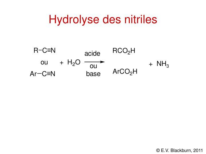 Hydrolyse des nitriles