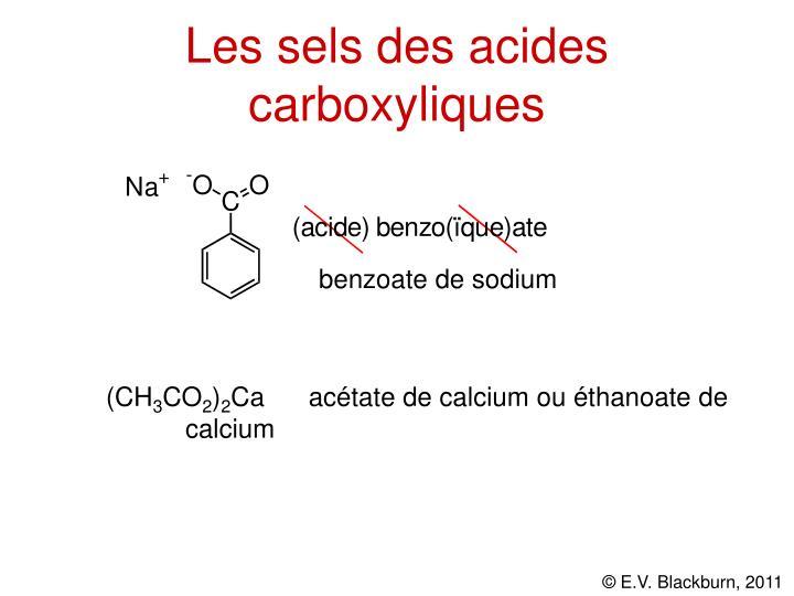Les sels des acides carboxyliques