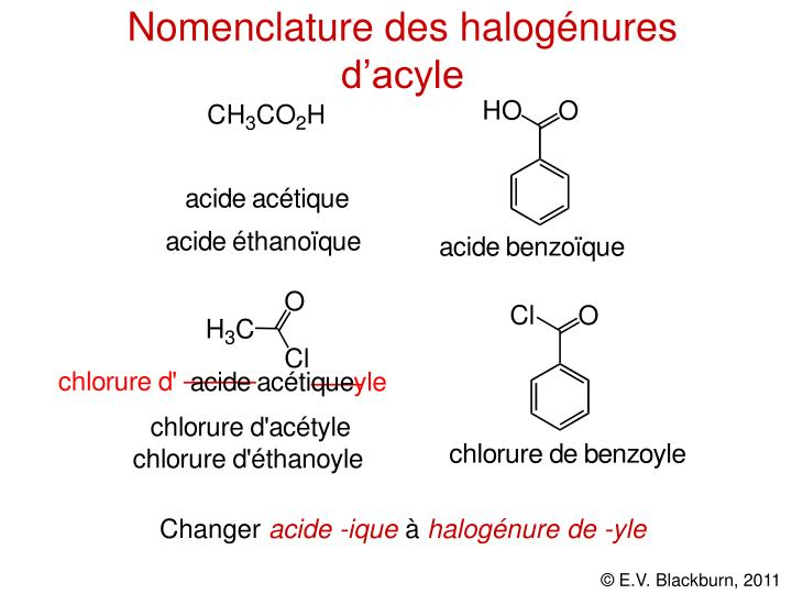 Nomenclature des halogénures d'acyle