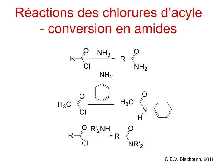 Réactions des chlorures d'acyle - conversion en amides