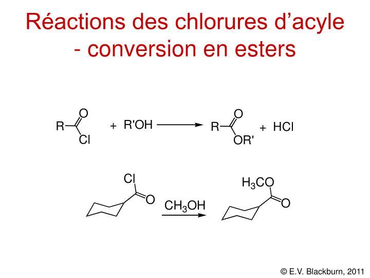 Réactions des chlorures d'acyle - conversion en esters