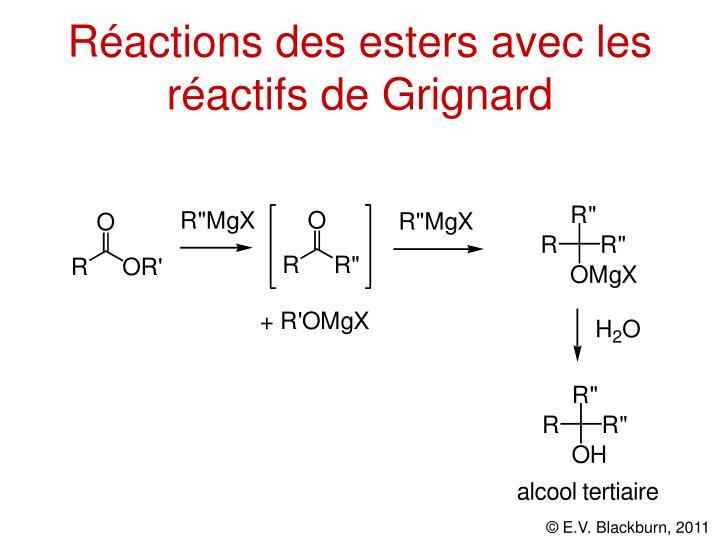 Réactions des esters avec les réactifs de Grignard