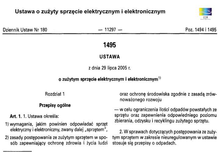 Ustawa o zużyty sprzęcie elektrycznym i elektronicznym