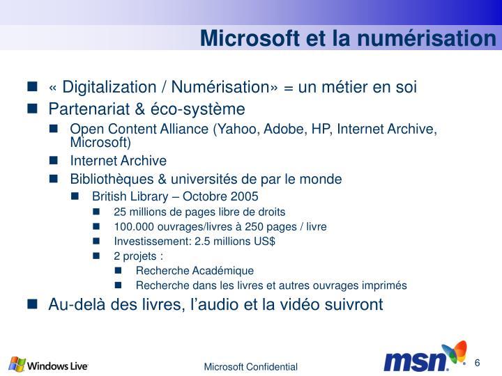 Microsoft et la numérisation