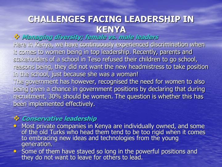 CHALLENGES FACING LEADERSHIP IN KENYA