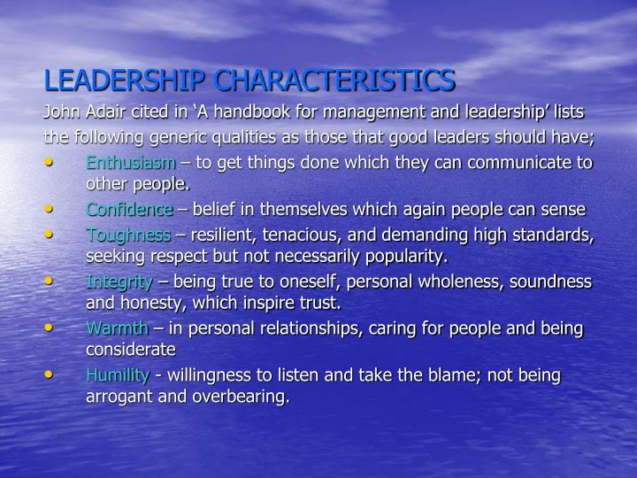 LEADERSHIP CHARACTERISTICS