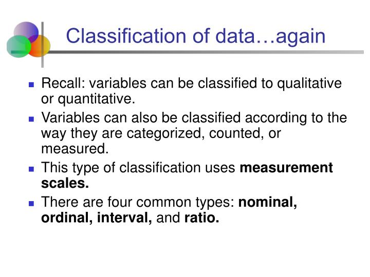 Classification of data…again