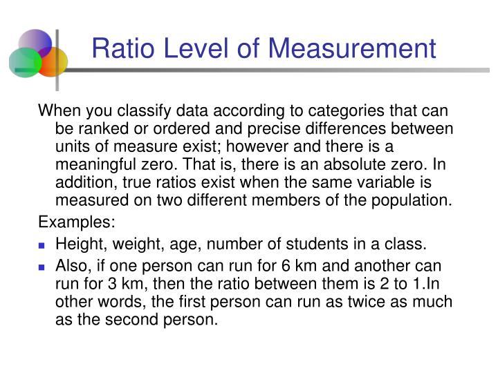 Ratio Level of Measurement