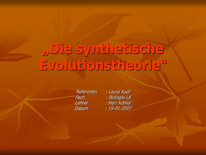 ppt die synthetische evolutionstheorie powerpoint presentation id 3473807. Black Bedroom Furniture Sets. Home Design Ideas