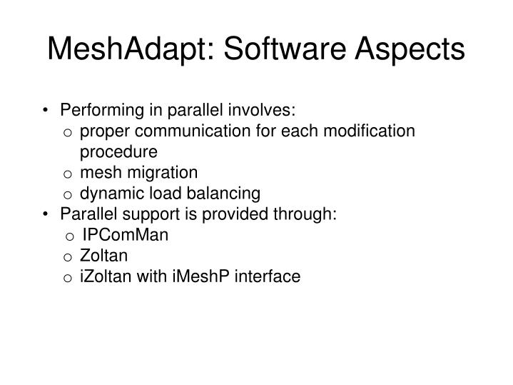 MeshAdapt: Software Aspects